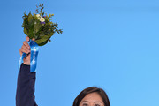 Silver medalist Tomoka Takeuchi of Japan celebrates during the medal for the Women's Parallel Giant Slalom on day twelve of the Sochi 2014 Winter Olympics at at Medals Plaza on February 19, 2014 in Sochi, Russia.