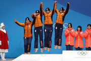 Silver medalists Marrit Leenstra, Lotte Van Beek, Ireen Wust and Antoinette De Jong of the Netherlands celebrate during the medal ceremony for Speed Skating - Ladies' Team Pursuit on day 13 of the PyeongChang 2018 Winter Olympic Games at Medal Plaza on February 22, 2018 in Pyeongchang-gun, South Korea.