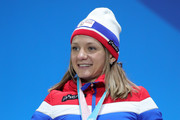 Silver medalist Maiken Caspersen Falla of Norway poses the medal ceremony for the Cross-Country Ladies' Sprint Classic on day five of the PyeongChang 2018 Winter Olympics at Medal Plaza on February 14, 2018 in Pyeongchang-gun, South Korea.