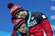 Bronze medalists Meagan Duhamel and Eric Radford of Canada celebrate during the medal ceremony for the Pair Skating Free Skating on day six of the PyeongChang 2018 Winter Olympic Games at Medal Plaza on February 15, 2018 in Pyeongchang-gun, South Korea.