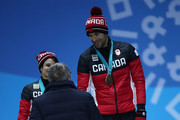 Bronze medalists Meagan Duhamel and Eric Radford of Canada shake hands with IOC President Thomas Bach during the medal ceremony for the Pair Skating Free Skating on day six of the PyeongChang 2018 Winter Olympic Games at Medal Plaza on February 15, 2018 in Pyeongchang-gun, South Korea.
