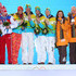 (L-R) Silver medalists Russia, gold medalists Germany and bronze medalists Latvia celebrate on the podium during the medal ceremony for the Luge Team Relay on day 7 of the Sochi 2014 Winter Olympics at Medals Plaza on February 14, 2014 in Sochi, Russia. - 3 of 10