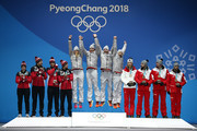 (L-R) Silver medalists Alex Gough, Samoa Edney, Tristan Walker and Justin Snith of Canada, gold medalists Natalie Geisenberger, Johannes Ludwig, Tobias Wendl and Tobias Arlt of Germany and bronze medalists Madeleine Egle, David Gleirscher, Peter Penz and Georg Fischler of Austria celebrate during the Medal Ceremony for the Luge - Team Relay Competition on day seven of the PyeongChang 2018 Winter Olympic Games at Medal Plaza on February 16, 2018 in Pyeongchang-gun, South Korea.