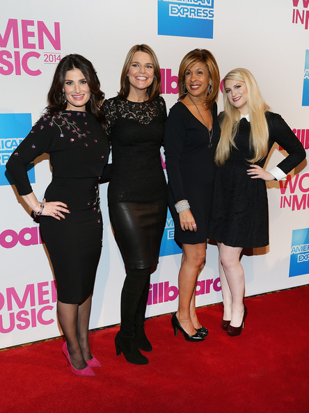 Billboard Women in Music Luncheon [billboard women in music luncheon,idina menzel,hoda kotb,meghan trainor,savannah guthrie,l-r,clothing,little black dress,carpet,red carpet,event,flooring,premiere,dress,fashion,cocktail dress,new york city,cipriani wall street]
