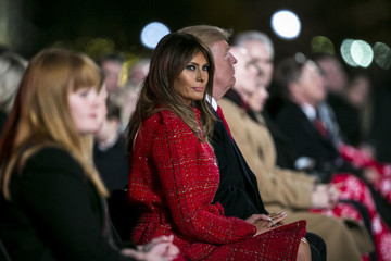Melania Trump President And Mrs Trump Attend National Christmas Tree Lighting Ceremony