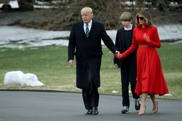 Melania Trump President Trump, First Lady, And Son Baron Depart White House En Route To Mar-a-Lago For Weekend