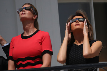 Melania Trump President Trump Views The Eclipse From The White House
