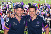 Cameron Smith and Billy Slater of the Storm pose for a photo during the Melbourne Storm Fan Day at Gosch's Paddock on October 1, 2018 in Melbourne, Australia.