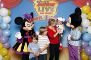 (L-R) Brady Wilkerson, Mason Wilkerson, Tucker Wilkerson, and actress Melissa Joan Hart attend Melissa Joan Hart And Her Sons Tucker, Braydon, And Mason Meet Mickey Mouse And Minnie Mouse At A Performance Of Disney Junior Live On Tour! Pirate & Princess Adventure at Webster Bank Arena at Harbor Yard on April 27, 2014 in Bridgeport.