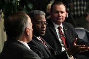 U.S. Rep. Allen West (R-FL) (2nd R) speaks as Sen. Mike Lee (R-UT) (R) listens during a Tea Party Town Hall meeting February 8, 2011 at the National Press Club in Washington, DC. The town hall meeting was held by the Tea Party Express and Tea Party HD to address issues Tea Party members were concerned over.