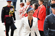 Theresa May attends as members of the Royal Family attend events to mark the centenary of the RAF on July 10, 2018 in London, England.