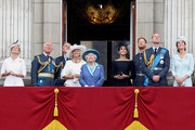 (L-R)  Sophie, Countess of Wessex, Prince Charles, Prince of Wales, Prince Andrew, Duke of York, Camilla, Duchess of Cornwall, Queen Elizabeth II, Meghan, Duchess of Sussex, Prince Harry, Duke of Sussex, Prince William, Duke of Cambridge and Catherine, Duchess of Cambridge watch the RAF flypast on the balcony of Buckingham Palace, as members of the Royal Family attend events to mark the centenary of the RAF on July 10, 2018 in London, England.