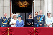 (L-R)  Prince Charles, Prince of Wales, rince Andrew, Duke of York, Camilla, Duchess of Cornwall, Queen Elizabeth II, Meghan, Duchess of Sussex, Prince Harry, Duke of Sussex, Prince William, Duke of Cambridge and Catherine, Duchess of Cambridge watch the RAF flypast on the balcony of Buckingham Palace, as members of the Royal Family attend events to mark the centenary of the RAF on July 10, 2018 in London, England.