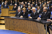 (L-R)  (L-R) President of the Bundestag Norbert Lammert, Chancellor Angela Merkel, Regional chairman of the Saxony CDU Stanislaw Tillich, President of the Constitutional Court Andreas Vosskuhle attend the state memorial ceremony to honor Hans-Dietrich Genscher at World Congress Center on April 17, 2016 in Bonn, Germany. Genscher, a member of the German Free Democrats (FDP), served as German foreign minister from 1974 to 1992 and was widely respected as a shrewd and successful diplomat through the end of the Cold War era.