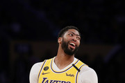Anthony Davis #3 of the Los Angeles Lakers reacts during the fourth quarter in a game against the Memphis Grizzlies at Staples Center on February 21, 2020 in Los Angeles, California. The Lakers won 117-105. NOTE TO USER: User expressly acknowledges and agrees that, by downloading and or using this Photograph, user is consenting to the terms and conditions of the Getty Images License Agreement.