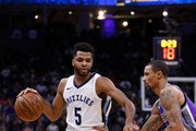 Andrew Harrison #5 of the Memphis Grizzlies is guarded by George Hill #3 of the Sacramento Kings at Golden 1 Center on December 31, 2017 in Sacramento, California. NOTE TO USER: User expressly acknowledges and agrees that, by downloading and or using this photograph, User is consenting to the terms and conditions of the Getty Images License Agreement.
