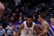 Andrew Harrison #5 of the Memphis Grizzlies drives to the basket past George Hill #3 of the Sacramento Kings at Golden 1 Center on December 31, 2017 in Sacramento, California. NOTE TO USER: User expressly acknowledges and agrees that, by downloading and or using this photograph, User is consenting to the terms and conditions of the Getty Images License Agreement.