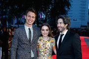 """Actors Ansel Elgort, Kaitlyn Dever and director Jason Reitman attend the Virgin Atlantic Gala VIP arrivals for """"Men, Women & Children"""" during the 58th BFI London Film Festival at Odeon Leicester Square on October 9, 2014 in London, England."""