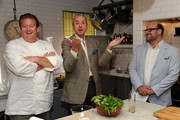 """(L-R) Chef Michael White, Mercedes Benz Director of Communications Geoff Day and Vice President of The James Beard Foundation Mitchell Davis attend the Mercedes-Benz """"On The Road"""" Picnic Event With Michael White at 632 Hudson on June 28, 2010 in New York City."""
