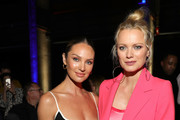 (L-R) Candice Swanepoel and Franziska Knuppe attend the Mercedes-Benz presents Fashion Talents from South Africa show during Berlin Fashion Week Autumn/Winter 2020 at Kraftwerk Mitte on January 13, 2020 in Berlin, Germany.