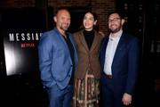Michael Petroni, Michelle Monaghan and Andrew McQuinn attend the 'Messiah' Los Angeles Press Mixer at The Shelby on December 12, 2019 in Los Angeles, California.