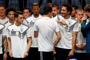 Mesut Oezil Julian Draxler Germany and Adidas Present the New Kit for the 2018 FIFA World Cup Russia