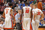 Head coach Billy Donovan of the Florida Gators directs the players during a break in action against the Wake Forest Demon Deacons during the MetroPCS Orange Bowl Basketball Classic on December 20, 2014 at the BB&T Center in Sunrise, Florida. Florida defeated Wake Forest 63-50.