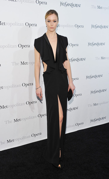"Model Raquel Zimmermann attends the Metropolitan Opera's gala premiere of Rossini's ""Le Comte Ory""  at The Metropolitan Opera House on March 24, 2011 in New York City."