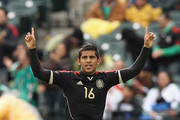 Miguel Ponce of Mexico celebrates scoring his first goal against Senegal during their U-23 international friendly match at AT&T Park on March 17, 2012 in San Francisco, California.