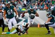 DeMarco Murray #29 of the Philadelphia Eagles runs the ball against Neville Hewitt #46 of the Miami Dolphins in the fourth quarter at Lincoln Financial Field on November 15, 2015 in Philadelphia, Pennsylvania.