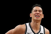 Jeremy Lin #7 of the Brooklyn Nets reacts in the first half against the Miami Heat during their Pre Season game at Barclays Center on October 5, 2017 in the Brooklyn Borough of New York City. NOTE TO USER: User expressly acknowledges and agrees that, by downloading and or using this photograph, User is consenting to the terms and conditions of the Getty Images License Agreement.