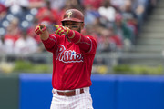 Andres Blanco #4 of the Philadelphia Phillies reacts after hitting an RBI double in the bottom of the third inning against the Miami Marlins at Citizens Bank Park on May 18, 2016 in Philadelphia, Pennsylvania. The Phillies defeated the Marlins 4-2.
