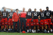 Head Coach Tommy Tuberville of the Cincinnati Bearcats celebrates with his team after defeating the Miami Ohio RedHawks 27-20 at Nippert Stadium on September 24, 2016 in Cincinnati, Ohio.