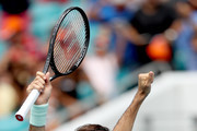 Roger Federer of Switzerland celebrates match point against John Isner during the men's final of the Miami Open Presented by Itau at Hard Rock Stadium March 31, 2019 in Miami Gardens, Florida.