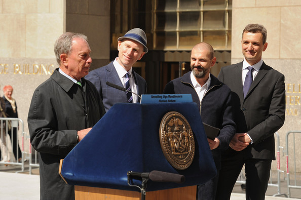 Nespresso Announces New Partnership [human nature,event,businessperson,white-collar worker,official,business,ugo rondinone,michael bloomberg,nicholas baume,frederic levy,l-r,partnership,rockefeller center,nespresso announces new partnership,exhibit]