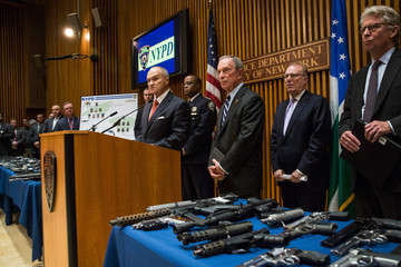 Michael Bloomberg Ray Kelly Bloomberg Announces Largest Seizure of Guns in NYC HIstory