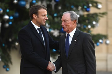 Michael Bloomberg French President Emmanuel Macron Receives One Planet Summit's International Philanthropists at Elysee Palace in Paris