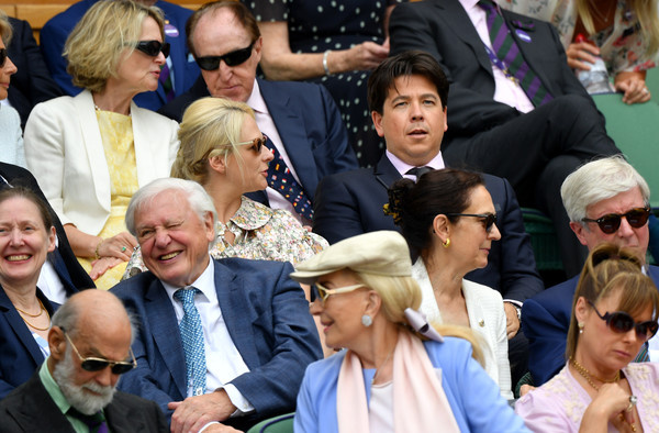 Day Eleven: The Championships - Wimbledon 2019 [people,event,crowd,community,audience,team,gesture,tourism,michael mcintyre,kitty mcintyre,royal box,wimbledon,england,london,all england lawn tennis and croquet club,the championships]