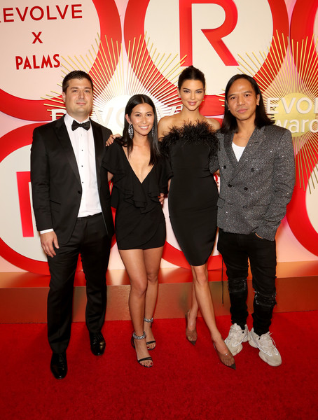 Revolve's Second Annual #REVOLVEawards [second annual revolveawards,red,event,red carpet,carpet,premiere,formal wear,suit,flooring,tuxedo,kendall jenner,raissa gerona,co-founder,co-ceo mike karanikolas,co-ceo michael mente,l-r,model,revolveawards,palms casino resort]