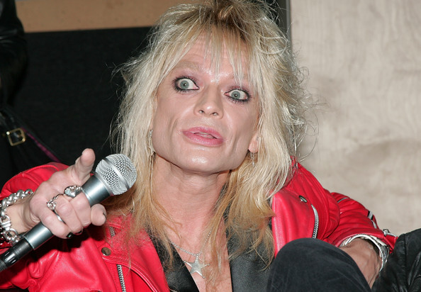 Michael Monroe Mobile Backstage Press Conference [microphone,lady,blond,audio equipment,singer,singing,lip,event,electronic device,music artist,app,michael monroe,california,los angeles,band,swing house studios,press conference,michael monroe mobile backstage press conference]