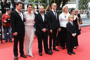 """(L to R) Actors Viktor Tremmel, Ursula Strauss, Michael Fuith, director Markus Schleinzer, actors Christine Kain, David Rauchenberger and Gisella Salcher attend the """"Michael"""" premiere at the Palais des Festivals during the 64th Cannes Film Festival on May 14, 2011 in Cannes, France."""