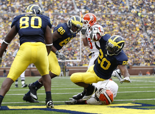 Bowling Green v Michigan [player,sports gear,gridiron football,sports,helmet,tournament,canadian football,american football,sports equipment,team sport,michael shaw,michigan,michigan stadium,ann arbor,bowling green,michigan wolverines,touchdown,game]