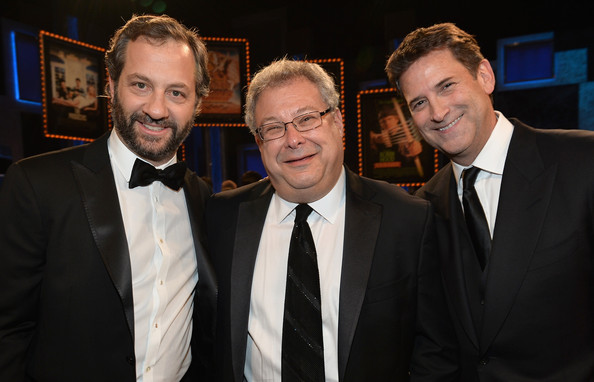 Backstage at the AFI Lifetime Achievement Awards [event,suit,white-collar worker,formal wear,premiere,audience,judd apatow,steve koonin,head of programming,mel brooks,president,afi life achievement award,mel brooks - backstage,tnt,turner classic movies]