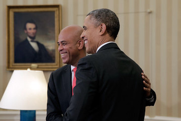 Michel Martelly Barack Obama Meets with Michel Martelly