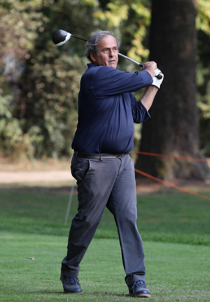 Italian Open - Previews [golfer,golf,professional golfer,golf equipment,golf club,iron,fourball,standing,golf course,sports equipment,previews,italian open,michel platini in action during the pro-am at golf club milano,monza,italy,parco reale]