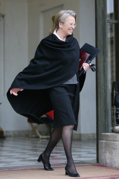 Weekly French Cabinet Meeting At Elysee Palace - February 9, 2011 [tights,clothing,leg,fashion,lady,footwear,high heels,standing,blond,joint,michele alliot-marie,sarkozy,ministers,response,acceptance,invitations,french,elysee palace,cabinet meeting,cabinet meeting]