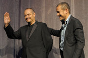 """Writer/director Jean-Pierre Jeunet (L) and actor Dany Boon onstage at the """"Micmacs"""" screening during the 2009 Toronto International Film Festival held at Roy Thomson Hall on September 15, 2009 in Toronto, Canada."""