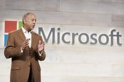 Microsoft Chairman of the Board John Thompson addresses shareholders during the  Microsoft Shareholders Meeting December 3, 2014 in Bellevue, Washington. The meeting was the first for Thompson as board chair.