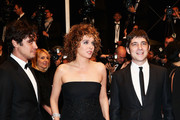 (L-R) Riccardo Scamarcio, director Valeria Golino and actor Libero De Rienzo attend the Premiere of 'Miele' (A Touch of Sin) during The 66th Annual Cannes Film Festival at Palais des Festivals on May 17, 2013 in Cannes, France.