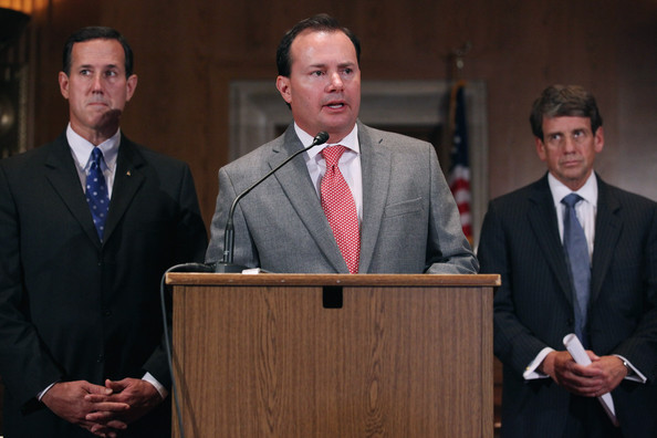 Mike Lee U.S. Sen. Mike Lee (R-UT) (C), former GOP presidential candidate and former Sen. Rick Santorum (R-PA) and Michael Farris of the Home School Legal Defense Association hold a news conference to voice their opposition to the United Nations Convention on the Rights of Persons with Disabilities November 26, 2012 in Washington, DC. In 2008 the Santorum's eighth child, Isabella, was born and diagnosed with Edwards syndrome (Trisomy 18), a serious genetic disorder, with only a 10% chance of survival past one year old. Following the second hospitalization of Isabella in a few months, Santorum officially suspended his campaign for the presidency in June of 2012.